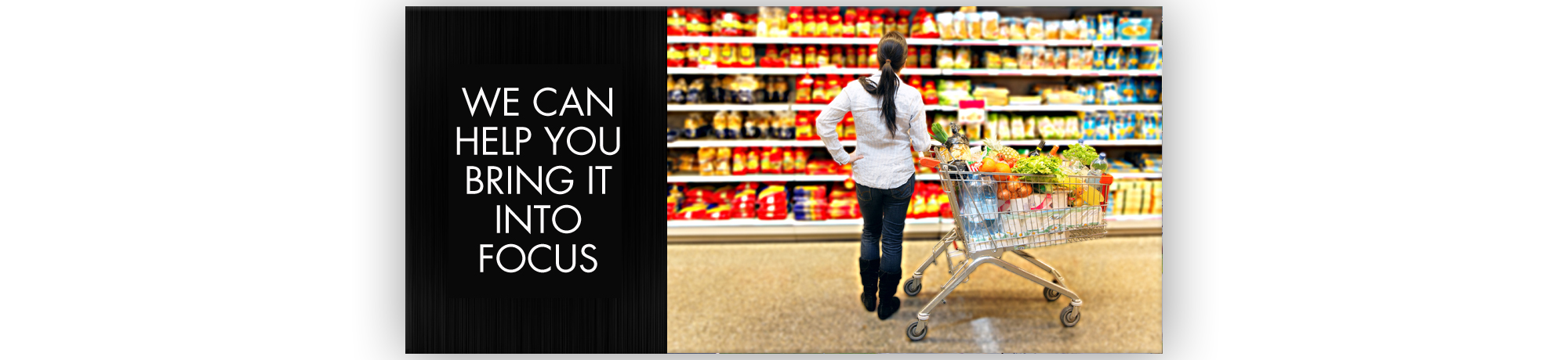 A woman in front of a shopping aisle